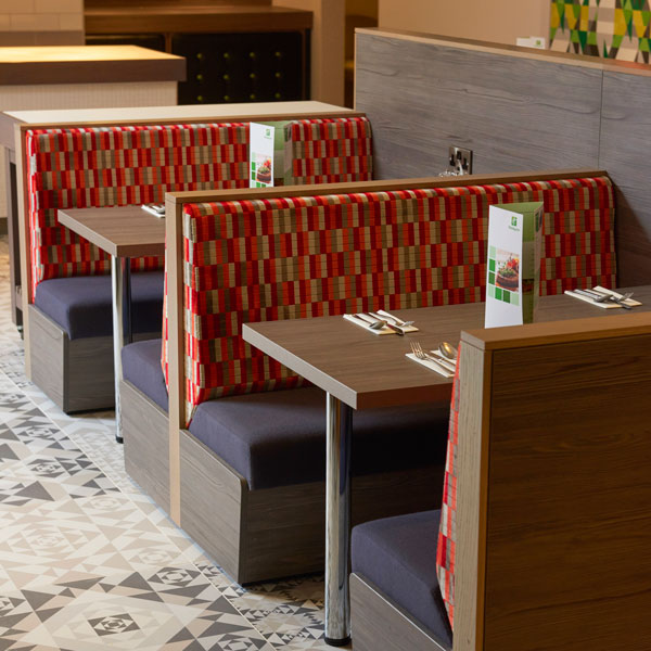 Enjoy our colourful designed nooks to enjoy our fluffy pancakes or full English.