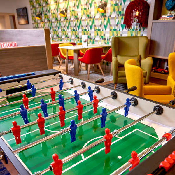 Playtime is catered for with our table football or stay on top of the latest news or sporting results with Sky Sports on our 5 HD TV screens viewable throughout the lobby.